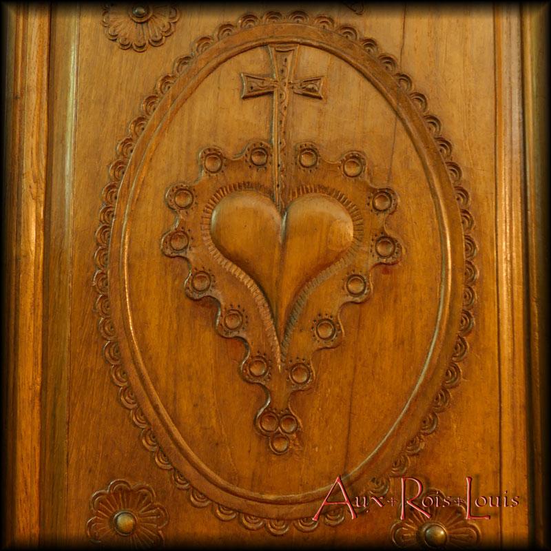 Armoire coffre de mariage en chêne – XIXᵉ siècle – Bretagne - MP001