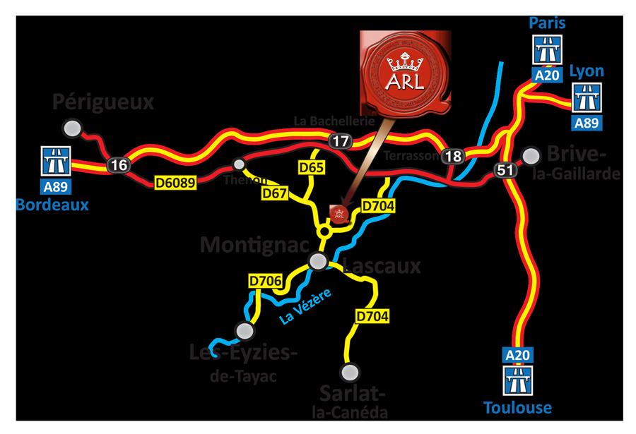Plan d'accès à la Galerie vente Aux-Rois-Louis à Montignac-Lascaux